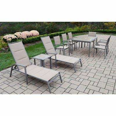 padded sling aluminum patio dining and chaise