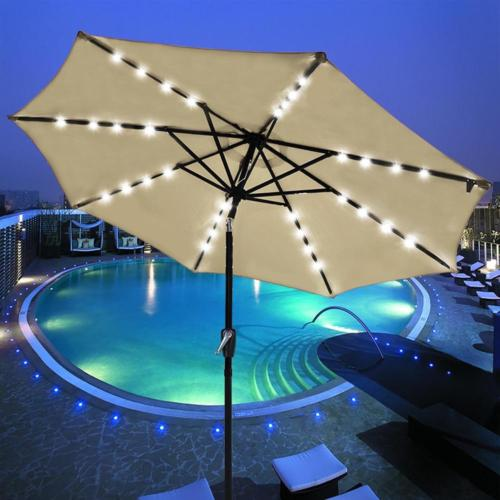 Patio Outdoor Umbrella Solar LED 9 FT 8 Ribs Garden Parasol
