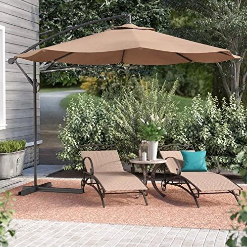 Belleze Patio 10 Ft Cantilever Outdoor Market and Base,