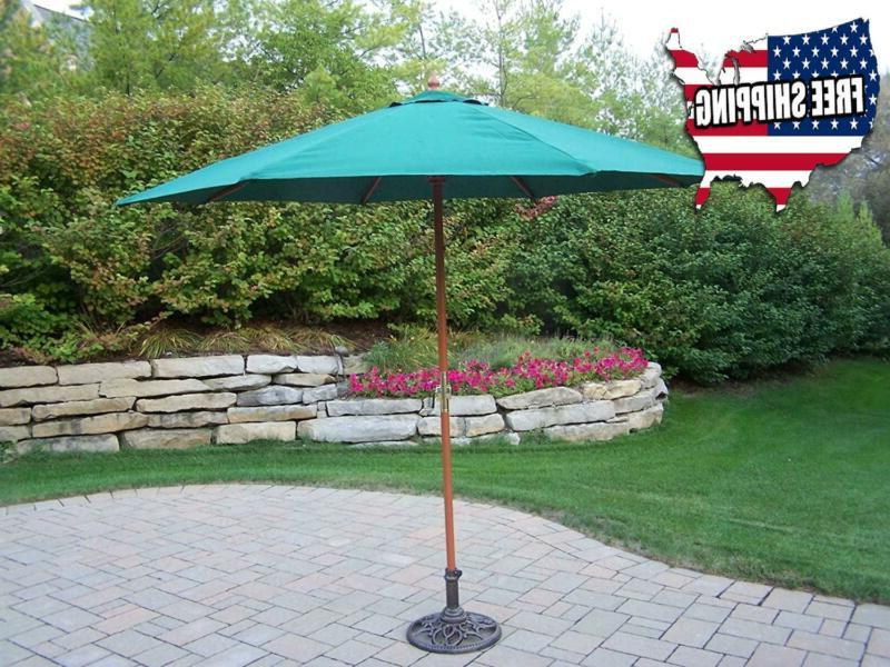 Patio Umbrella Outdoor Garden Green Market With Crank 9 Feet