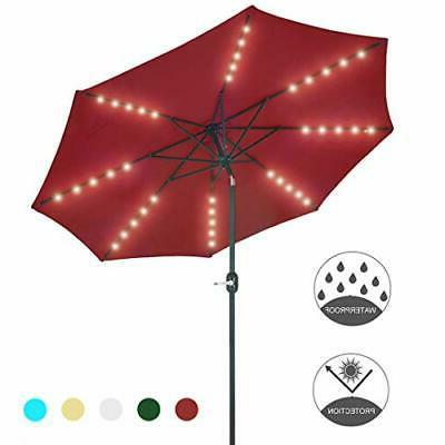 Patio Watcher 9-Ft Umbrella 40 LED Lighted Solar with Red