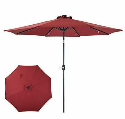 Patio Watcher Umbrella LED Lighted Solar with Dark Red