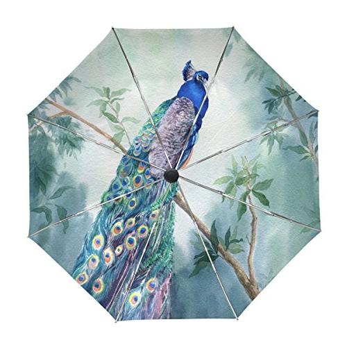 peacock watercolor umbrella auto open