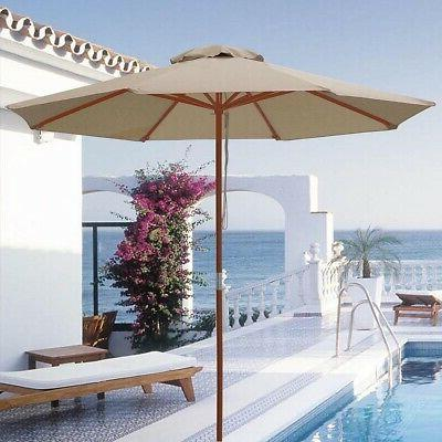 pre sale 9ft wooden patio umbrella sun