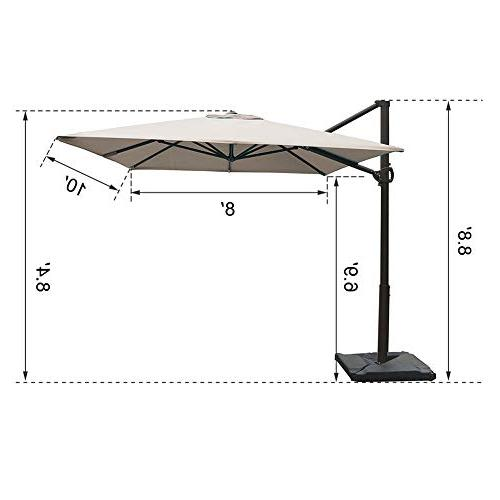 Abba Cantilever Outdoor Patio Hanging with Base, 8 x Feet, Sand