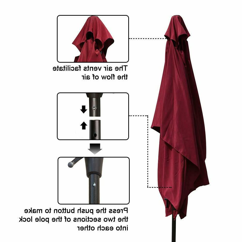 COBANA Market Umbrella with Button Burgundy
