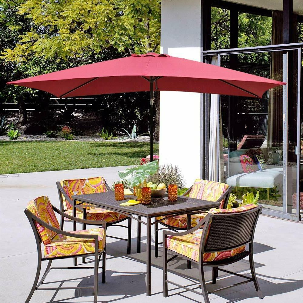 rectangular patio umbrella market umbrella with push