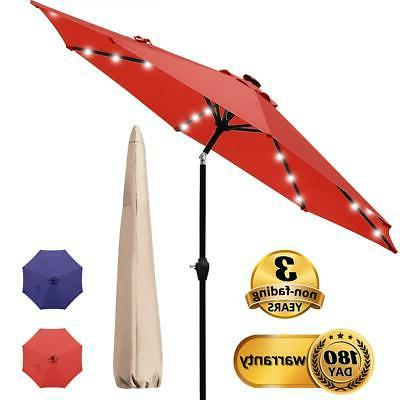 red patio umbrella with 32 led lights