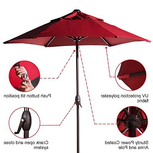 Abba Round Market Patio Umbrella Push Tilt Red