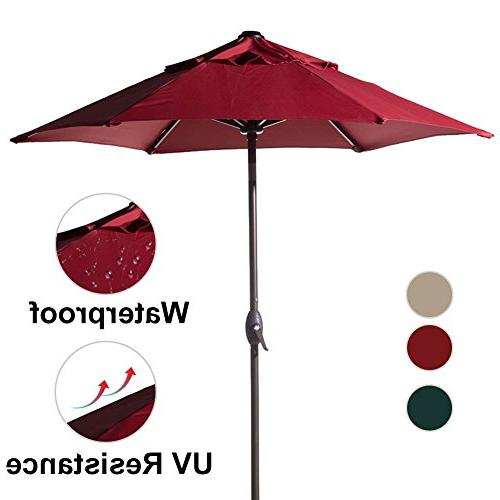 Abba Patio Round Market Umbrella Tilt and Crank Red