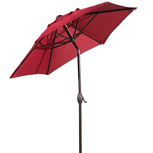 Abba Patio 7-1/2 Round Outdoor Market Umbrella Push Tilt and Crank Red