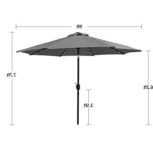 Sundale Solar Powered 32 Umbrella with and Button for Deck, Pool, Steel Ribs, 9 Yellow