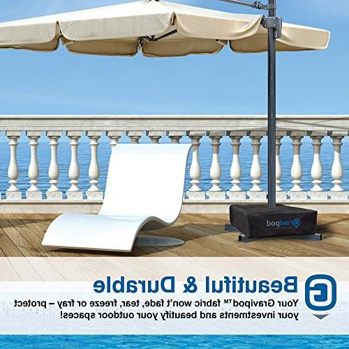 Gravipod Square Base Weight 110#. for Patio, and Umbrellas. Heavy Ballistic Polyester, opening, and