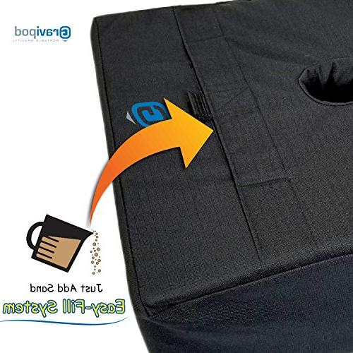 """Gravipod 18""""x18"""" Square Base Bag-Up 110#. Safety solution for Patio, and Cantilever Umbrellas. Heavy Duty Polyester, and UV"""