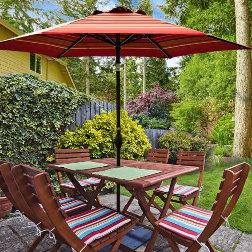 Abba Striped 9-Feet Outdoor Market Umbrella with Push