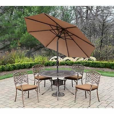 sunbrella 7 pc patio set with stackable