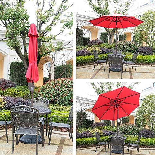 Abba Patio 9 Ft Fade Umbrella with Auto Tilt and Crank, 8
