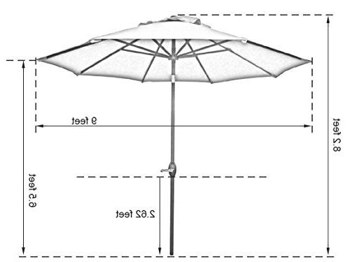 Abba Fade Resistant Patio Umbrella with Auto and Crank, 8 Ribs,