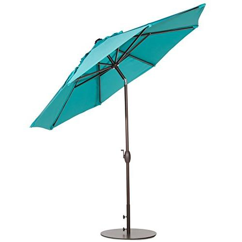 Abba 9 Patio Umbrella Market Table with Tilt and Crank, Turquoise