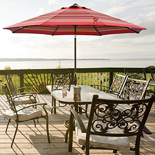 Abba Patio Umbrella Outdoor Table with Button and Red