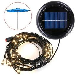 LED Solar Powered Patio Umbrella String Light Fit 8ft 9ft 10