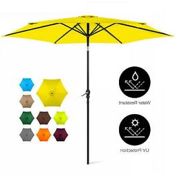 New 10-ft Market Patio Umbrella w/ Crank and Easy Push Butto
