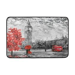 ALAZA 23.6x15.7 inch Non-Slip Polyester Doormat London Big B