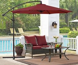 Ulax furniture 10 Ft Offset Cantilever Hanging Patio Umbrell