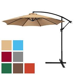 Offset Patio Umbrella Hanging Outdoor Sun Shade Canopy Tan 1