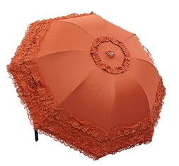 Biscount Orange Folding Blacke Lace Umbrella Sunshade Rainy