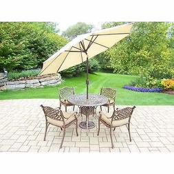 Outdoor Patio 7-Piece Dining Set with Umbrella and Metal Sta
