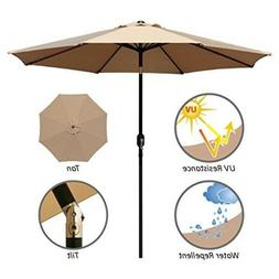 Outdoor Patio Umbrella 9 Ft with Tilt and Crank, Weather Res