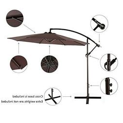 Offset Hanging Patio Umbrella Outdoor Sun Shade Canopy 10' w