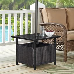 Ulax Furniture Outdoor Wicker Side Table Umbrella Stand Pati