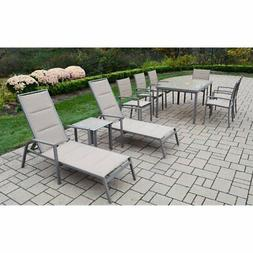 Oakland Living Padded Sling Aluminum Patio Dining and Chaise