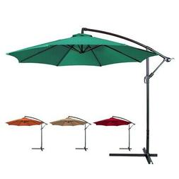 Patio Sunshade Offset 10' Hanging Umbrella w/ Base Beige Gre