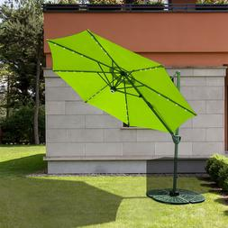 Patio Umbrella 10' Offset with Solar Powered 32 LED and Bl