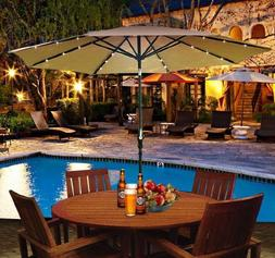 Outsunny Outdoor Patio Umbrella with Tilt and Solar Powered