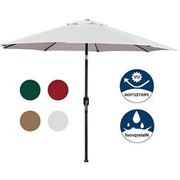 NEW Blissun 9' Patio Umbrella Aluminum Manual Push Button Ou