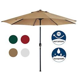Blissun 9' Patio Umbrella Aluminum Manual Push Button Tilt a