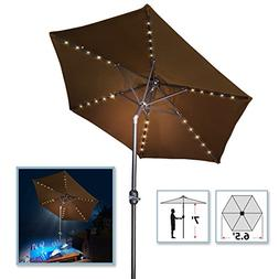 BenefitUSA 6.5ft Patio Umbrella LED Lighted Tilt Aluminum Su