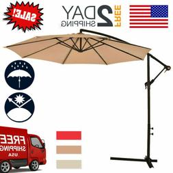New Tan Patio Umbrella Offset 10' Hanging Umbrella Outdoor M