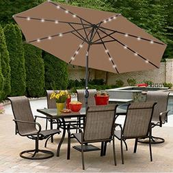 SUPER DEAL 10 ft Patio Umbrella LED Solar Power, with Tilt A