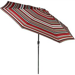 Sunnydaze 9 Foot Outdoor Patio Umbrella with Push Button Til