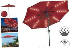 Patio Watcher 9-Ft Patio Umbrella 40 LED Lighted Solar Umbre