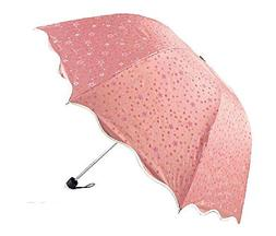 Biscount Pink Flower Travel Umbrella Anti-UV Parasol Sun And