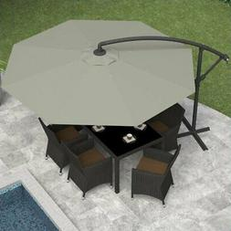 CorLiving PPU-430-U Offset Patio Umbrella, Sand Gray