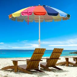 Rainbow Beach Umbrella Patio Outdoor Sunshade UV Resist 16 R