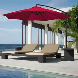 Red 10ft Offset Hanging Outdoor Market Patio Umbrella by Bes