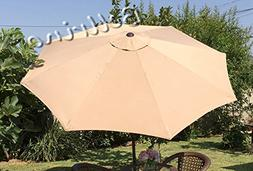 BELLRINO Replacement Umbrella Canopy for 9ft 8 Ribs TAN/SAND